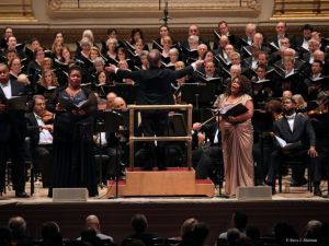 James Conlon leading the May Festival chorus, soloists and the Cincinnati Symphony at Carnegie Hall last May