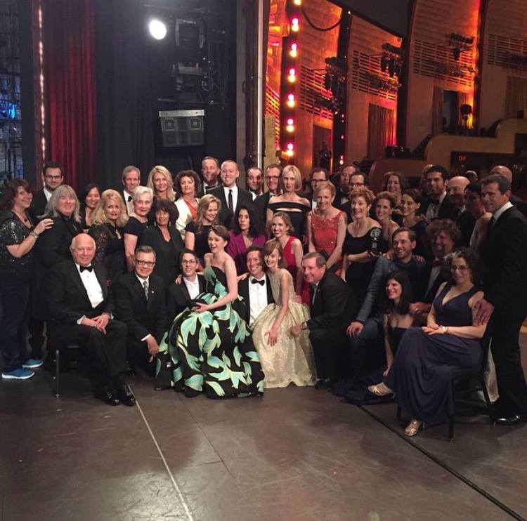 CCM alumnus Chris Fenwick with the cast and creative team for 'Fun Home' at the 2015 Tony Awards ceremony.