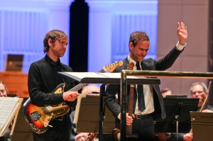 Aaron and Bryce Dessner performed Bryce Dessner?s ?St. Carolyn by the Sea? with the Cincinnati Symphony Orchestra last year. Photo courtesy of CSO