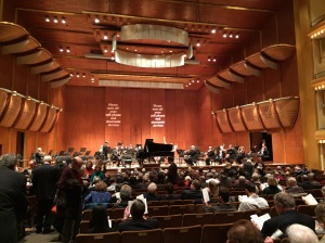 The view from my seat in David Geffen Hall at Lincoln Center.