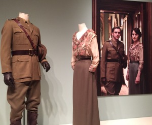 Matthew Crawley's wartime uniform, with Lady Mary's costume.