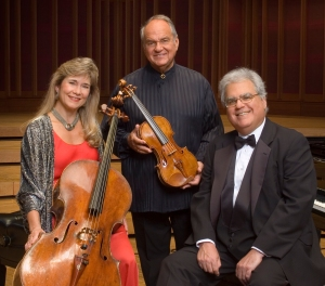 40 years of piano trios: Joseph Kalichstein, piano, right, Sharon Ronbinson, cello, and Jaime Laredo, violin